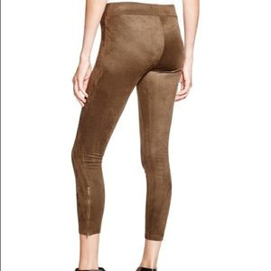 Camel faux suede zipper leggings size small